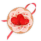 Cake with red hearts for a loved one — Stock Vector
