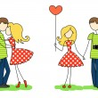 Enamoured guy and girl — Stock Vector