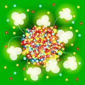зеленый фон с разноцветными цветами и бабочками — Cтоковый вектор