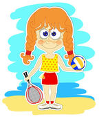 Funny girl with ball and rackets — ストックベクタ