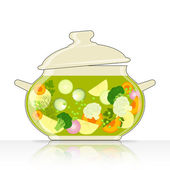 Saucepan with vegetable soup — Stock Vector
