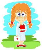 面白い女の子が医者であります。 — ストックベクタ