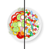 Plate with vegetables and plate with pills — Stock Vector
