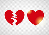 Two halves of one heart — Stock Vector