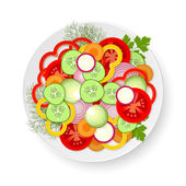 Plate with vegetables — Stock Vector