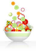 Bowl and fresh vegetables — Stock Vector