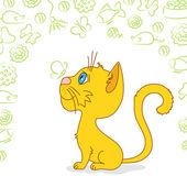 Ginger cat is waiting — Stock vektor