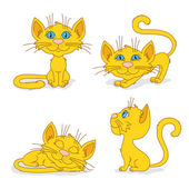 Ginger cats in different poses — Stock Vector
