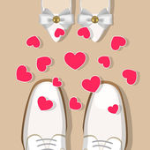 Wedding shoes and hearts — Stock Vector