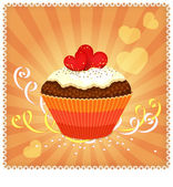 Greeting card with cupcake and hearts — Stock Vector