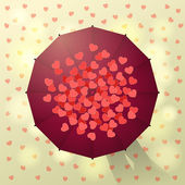 Umbrella and hearts — Stock Vector