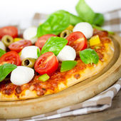 Pizza tomato mozzarella — Stock Photo