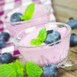 Yogurt with blueberries — Stock Photo #38198471