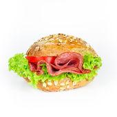 Bun with salami — Stock Photo