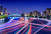 Sumida River Light Trails, Tokyo — Stock Photo