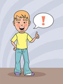 A boy smiling and showing a thumbs up — Stock Vector