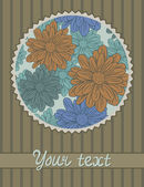 Modèle de carte avec motif de fleurs — Vecteur