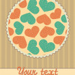 Card template with hearts pattern in circle — Stock Vector