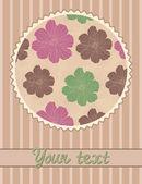Plantilla de tarjeta vector con estampado de flores en círculo — Vector de stock