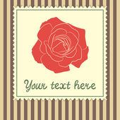 Card template with big rose — Vector de stock