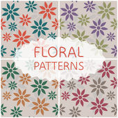 Satz von floralen mustern — Stockvektor