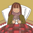 Young ill girl drinking hot tea — Imagen vectorial