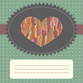 Vintage card template with heart — Stock Vector
