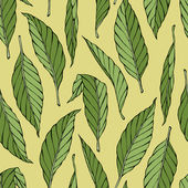 Hand drawn pattern with green leaves — Stock Vector