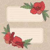 Vector poppy card — Stock Vector