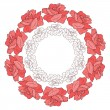 Wreath with roses. Floral background. — Stock Vector