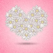 Romantic floral heart — Stock Vector