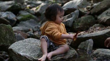 Baby Toddler At Creek. — Stock Video