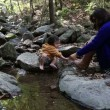 Mother and Daughter at Creek. — Stock Video