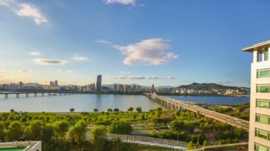 Seoul City 266 Daytime Waterfront Park — Stock Video
