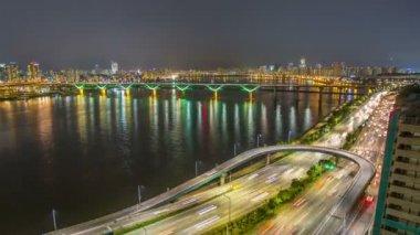Seul miasta 255 autostrady most ruchu — Wideo stockowe