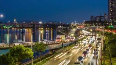 Seul miasta 256 autostrady most ruchu — Wideo stockowe