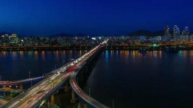 Seul miasta 259 autostrady most ruchu — Wideo stockowe