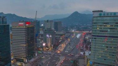 Tráfego de gwanghwamun de cidade de seul — Vídeo stock