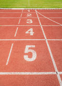 陸上競技レーン番号を追跡します。 — ストック写真
