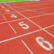 Athletics Track Lane Numbers — Stock Photo
