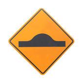 A yellow road warning sign — Stock Photo