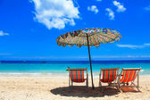 Umbrellas and beach chairs — Stock Photo