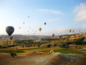Panoramic view of hot air balloons in Cappadocia Turkey — Stock Photo