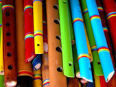 Wooden colorful flutes — Stock Photo