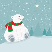 Cute christmas holiday polar bear — Stock Vector
