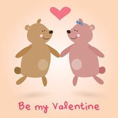 Valentine's Day lovely teddy bears — Cтоковый вектор