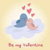 Valentine's day love birds sitting on a cloud kissing — Stock Vector