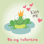 Valentine's day kiss me prince frog — Stock Vector
