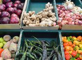 Vegetable stand at mexican traditional market — Stock Photo
