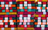 Traditional mexican woven colorful wood toy blocks close up — Foto de Stock